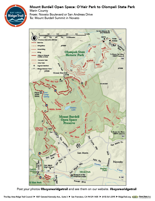 Mount Burdell Open Space: O'Hair Park to Olompali State Park