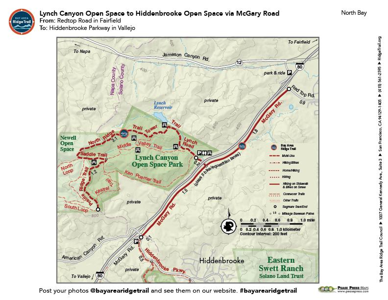 Lynch Canyon Open Space to Hiddenbrook Open Space via McGary Road