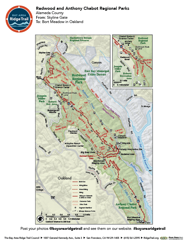 Redwood Regional Park to Bort Meadow in Anthony Chabot