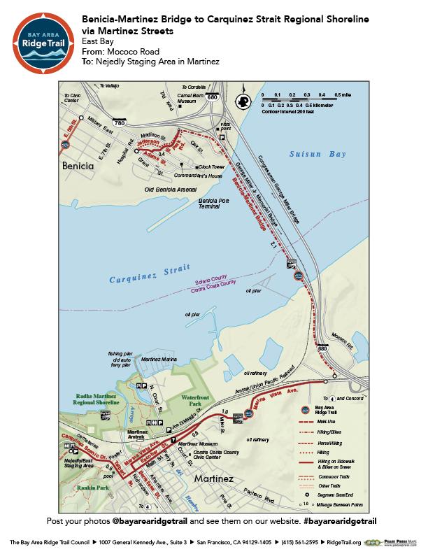 Benicia-Martinez Bridge to Carquinez Strait Regional Shoreline via Martinez Streets