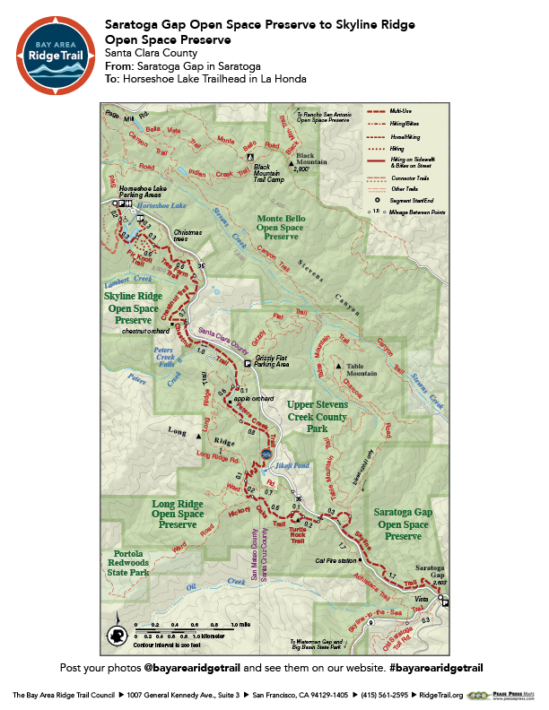 Saratoga Gap Open Space to Skyline Ridge Open Space Preserves