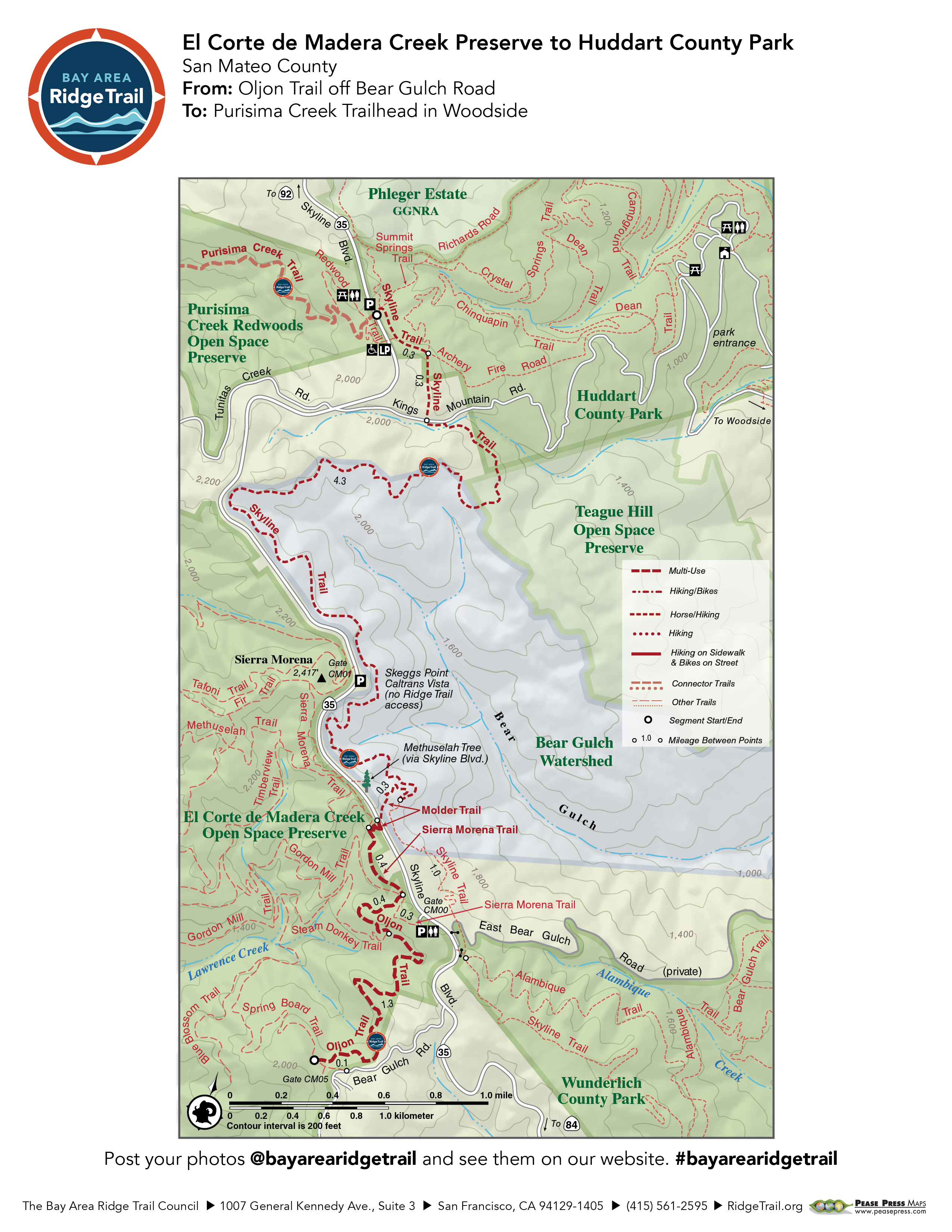 El Corte de Madera Creek Preserve to Huddart County Park