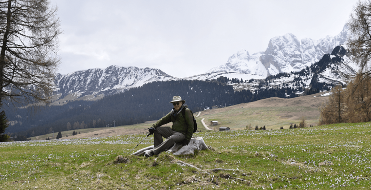 David Caulkins in front of snowy mountain