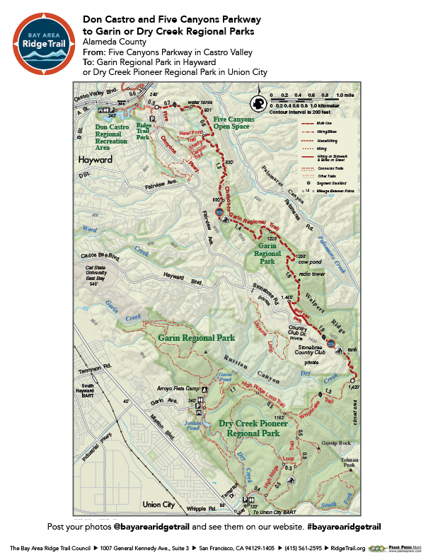 Don Castro and Five Canyons Parkway to Garin or Dry Creek Regional Parks