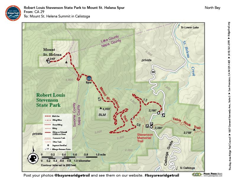Robert Louis Stevenson State Park to Mount St. Helena Spur