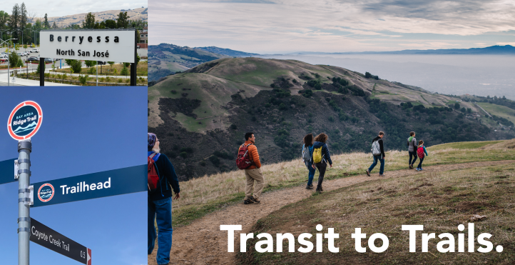 Collage of images with sierra vista open space, trail signs, and BART sign