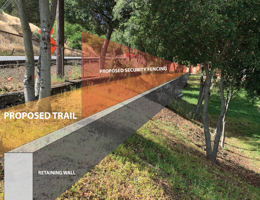 rendering of retaining wall and fence along proposed crockett trail