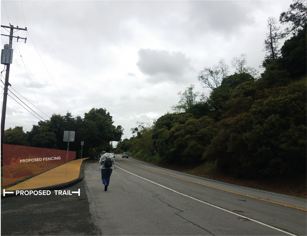 rendering of trail and fence along a road with student walking