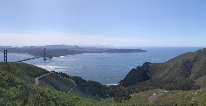 panoramic view of golden gate bridge and san francisco