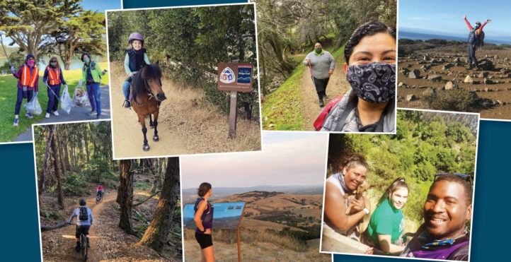 collage of photos of people on the trail