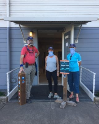 """Ross, Mary, and Sandy stopped by our office to say """"hello"""" as they finished up the San Francisco section of the Ridge Trail. These three are about 200 miles into their Ridge Trail circumnavigation, with about 185 miles to go! Are you dreaming of traveling the entire Ridge Trail? We have resources to help! Visit the link in our bio for navigation, packing, and trail tracking tools. Happy trails! 🏃♀️🏇🚴 #bayarearidgetrail #trails #goals #bayarea #nature"""