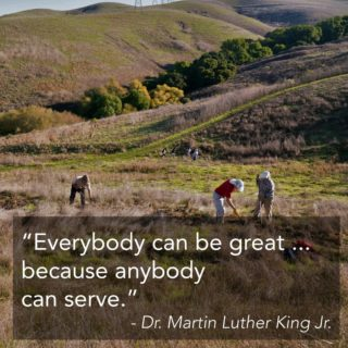 "Americorps calls Dr. Martin Luther King Jr. Day ""a day on, not a day off."" You can honor his legacy today by serving your community in a number of ways - one is to join us in a DIY Ridge Trail clean-up. Get involved at the link in our bio. #MLKDay #bayarearidgetrail #trails #hike #bike #equestrian #outdoors #nature #service #volunteer"